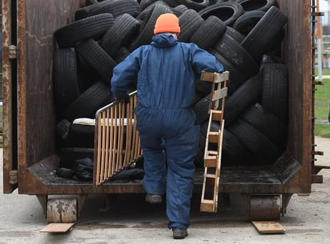 Pacemaker Press 15/3/2017 Bonfire material has been removed from the new multi-million-pound greenway in East Belfast on Wednesday, Dozens of tyres and pallets had been dumped ahead the of the 11th July Bonfires on the recently opened pathway at Connswater, It forms part of the £40m Connswater Community Greenway project. Pic Colm Lenaghan/Pacemaker