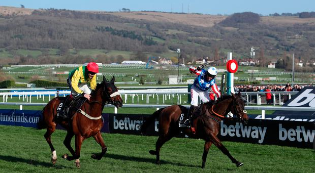 Special Tiara ridden by Noel Fehily (right) celebrates beating Fox Norton ridden by Aidan Coleman to win the Betway Queen Mother Champion Chase