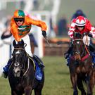 Powering ahead: Flying Angel (left) will go for glory in the JLT Novice Chase