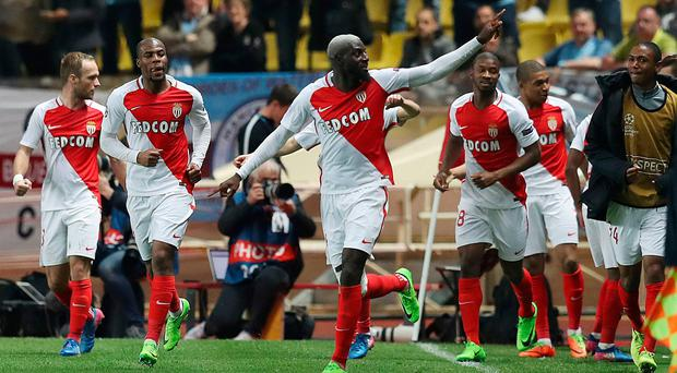 Clincher: Monaco's Tiemoue Bakayoko after scoring the decisive goal against Man City