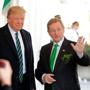 WASHINGTON, DC - MARCH 16: U.S. President Donald Trump (L) and Irish Taoiseach Enda Kenny acknowledge the press outside the West Wing of the White House March 16, 2017 in Washington, DC. Kenny and Trump are scheduled to attend the annual Friends of Ireland Luncheon at the U.S. Capitol. (Photo by Chip Somodevilla/Getty Images)