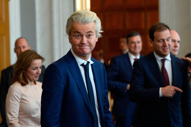 Party for Freedom (PVV) leader Geert Wilders attends a meeting of Dutch political party leaders at the House of Representatives to express their views on the formation of the cabinet, on March 16, 2017 in The Hague, Netherlands. (Photo by Carl Court/Getty Images)