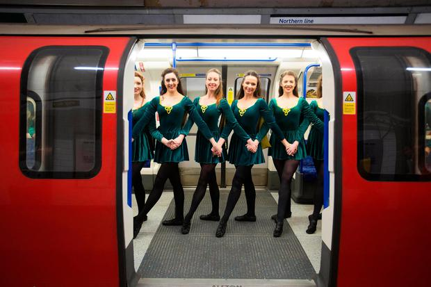 Irish dancers in Tottenham Court Road underground station, London, as Tourism Ireland celebrate St Patrick's Day, which is on Friday 17th March. PA