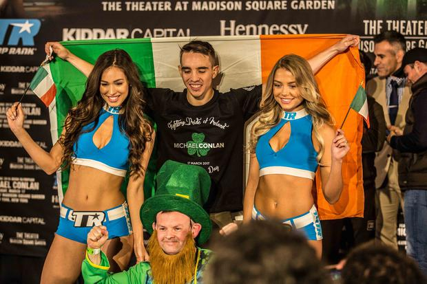 Michael Conlon at his weigh in this evening ahead of tomorrow nights St Patricks day debut fight against Tim Ibarra in New York.
