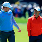 Early optimism: Rory McIlroy (right), with Brandt Snedeker,at the first hole in last night's testing first round at the Arnold Palmer Invitational at Bay Hill