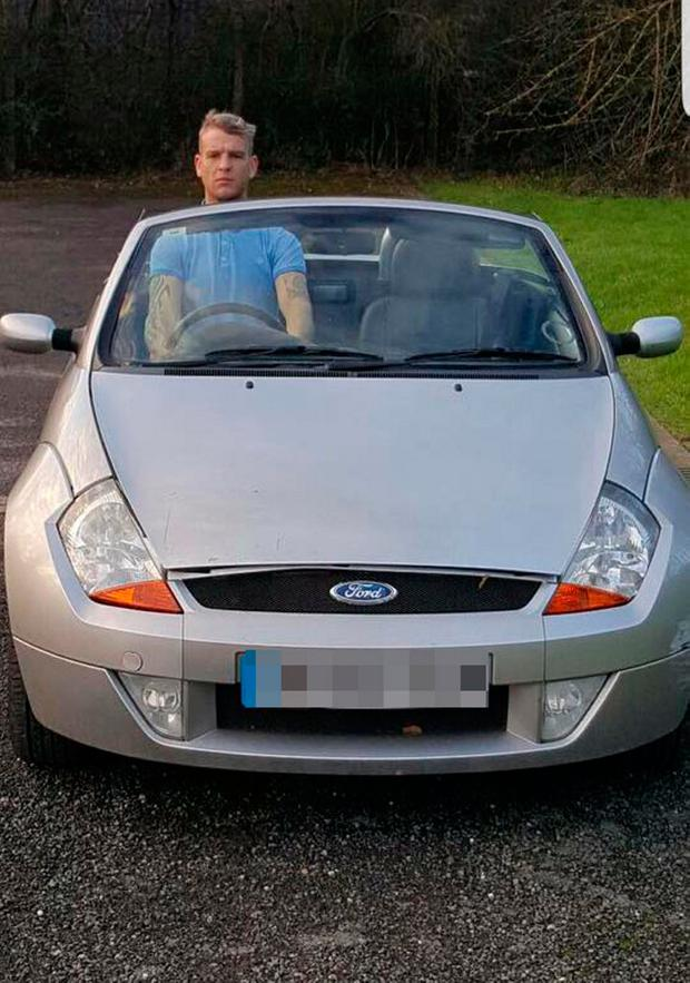 Handout file photo taken with permission from the Facebook page of Adam Elliott of him sitting in a Ford Ka. PA