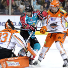 Sticking it to them: Giants ace David Rutherford takes on the Steelers at the SSE Arena