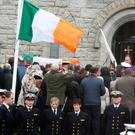 The coffin arrives for the funeral of Captain Dara Fitzpatrick, who died in the Coast Guard helicopter tragedy off Blacksod, Co Mayo at St Patrick's Church, Glencullen. PA