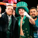 Conor McGregor, Michael Conlan & Matthew Macklin celebrate Conlan's 3rd round TKO win over Tim Ibarra in his super bantamweight bout at The Theater at Madison Square Garden on March 17, 2017 in New York City. (Photo by Ed Mulholland/Getty Images)