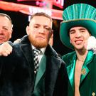 NEW YORK, NY - MARCH 17: (L to R) Conor McGregor, & Michael Conlan celebrate Conlan's 3rd round TKO win over Tim Ibarra in his super bantamweight bout at The Theater at Madison Square Garden on March 17, 2017 in New York City. (Photo by Ed Mulholland/Getty Images)