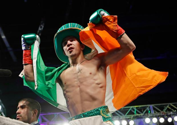 Michael Conlan, of Ireland, celebrates after a super bantamweight boxing match against Tim Ibarra on Friday, March 17, 2017, in New York. Conlan stopped Ibarra in the third round.(AP Photo/Frank Franklin II)