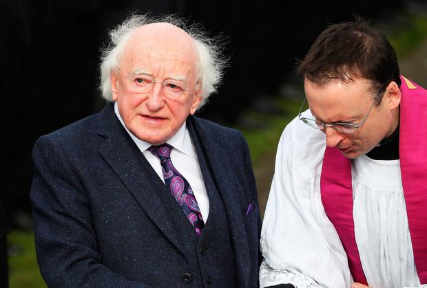 President Michael D. Higgins arrives for the funeral of Captain Dara Fitzpatrick, who died in the Coast Guard helicopter tragedy off Blacksod, Co Mayo, at St Patrick's Church, Glencullen. PA