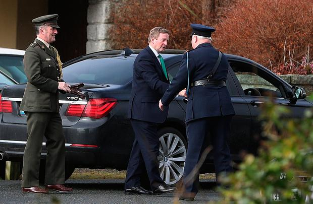 An Taoiseach Enda Kenny arrives for the funeral of Captain Dara Fitzpatrick, who died in the Coast Guard helicopter tragedy off Blacksod, Co Mayo, at St Patrick's Church, Glencullen. PA