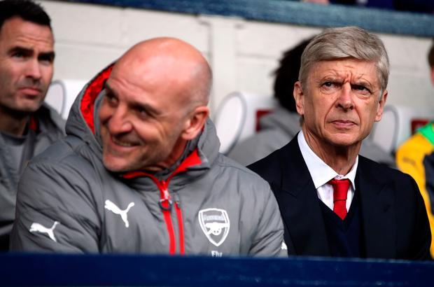 Arsenal manager Arsene Wenger and his assistant Steve Bould during the Premier League match at The Hawthorns, West Bromwich. PA