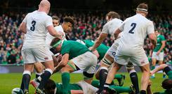 Ireland's Iain Henderson scores a try at the RBS 6 Nations match at the Aviva Stadium, Dublin (PA Wire)