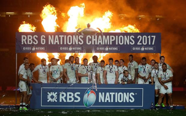 England captain Dylan Hartley lifts the Six Nations trophy at the RBS 6 Nations match at the Aviva Stadium, Dublin (PA Wire)