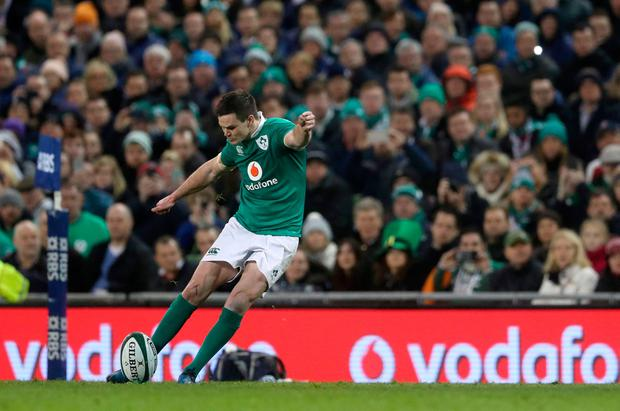 Ireland's Johnny Sexton kicks a penalty during the RBS 6 Nations match at the Aviva Stadium (Brian Lawless/PA Wire)