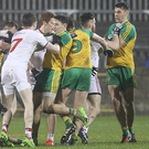 Flashpoint: Donegal and Tyrone players tussle in Ballybofey