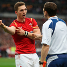 Bitter end: Welsh player George North complains about alleged bite during the Paris game