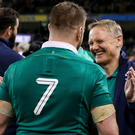 Party poopers: Joe Schmidt congratulates Sean O'Brien after Ireland's defeat of England on Saturday