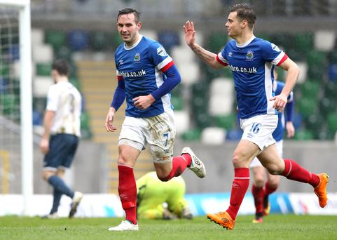 Ton up: Andy Waterworth takes the plaudits after hitting his 100th goal for Linfield
