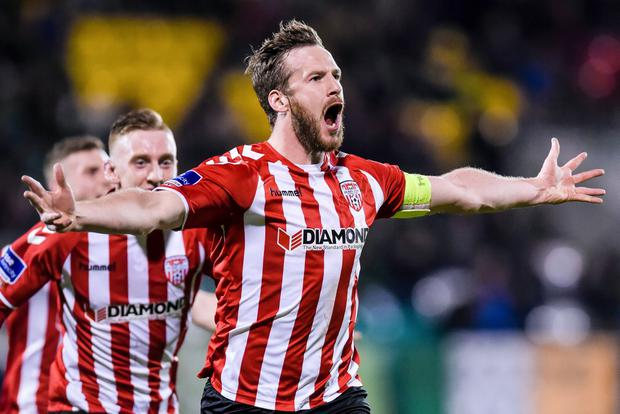Derry's Ryan McBride celebrates scoring a a goal against the Shamrock Rovers earlier this month (©INPHO/Tom Beary)