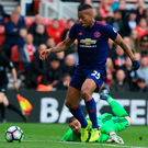 Easy goal: Antonio Valencia makes the most of Victor Valdes' error