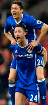 Late drama: Nemanja Matic and Gary Cahill celebrate