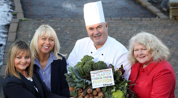 From left, Susie Brown from Tourism NI, Jackie Reid from the Belfast Telegraph, Culloden Hotel head chef Paul McKnight and Michele Shirlow of Food NI at the launch of the Year of Food and Drink Awards