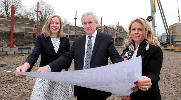 From left, Aisling Owens of LEO with its chairman Andrew Robinson, and senior business advisor Colleen McAreavey