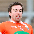 Marching orders: Aidan Forker was dismissed against Louth