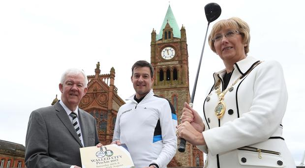 Clubbing together: (from left) Michael McCumiskey of the PGA in Ireland, competitor Simon Thornton and Lady Mayor Alderman Hilary McClintock, of Derry City and Strabane District Council launch the Walled City Pro-Am.