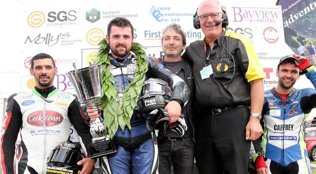 Legend status: (from left) Derek Shiels, winner Michael Dunlop, outgoing sponsor Brian McGrath, clerk of course Bill Kennedy and William Dunlop following last year's Race of Legends
