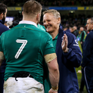 Winning feeling: Sean O'Brien and Joe Schmidt after the victory