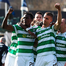 Goal: Jozo Simunovic (right) celebrates after scoring for Celtic