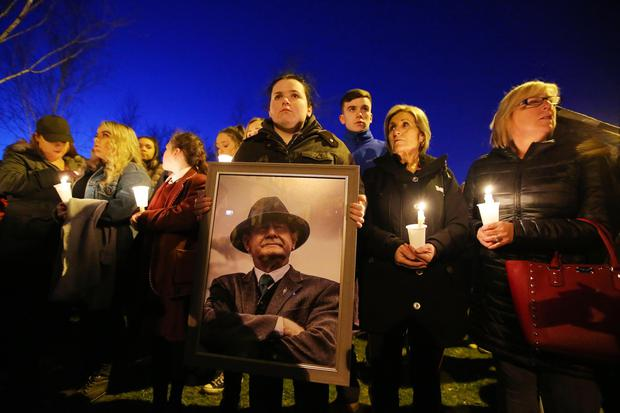 Members of the public take part in a vigil to pay respects to former deputy First Minister Martin McGuinness at the site of the former Andersonstown Barracks in west Belfast. Photo by Kelvin Boyes / Press Eye.