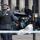 Police close to the Palace of Westminster, London, after policeman has been stabbed. Pic PA