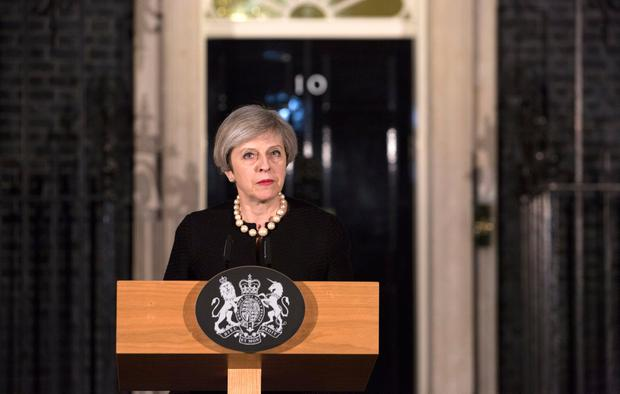 Prime Minister Theresa May makes a statement in Downing Street, London following the terrorist incident in Westminster where four people, including one police officer and the perpetrator, died. PA
