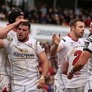 Team effort: Sean Reidy, arm raised, celebrates his try in Ulster's win against Treviso earlier this month at Kingspan