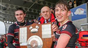 Prize guys: Peter Taylor and Charlie Worth receive the Medallion Shield from Ulster Branch President John McKibbin