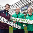 World bid: pictured at the Aviva Stadium as part of a two-day site visit by the World Rugby Technical Review Group is (L-R) Jack Kelly (Ireland U20 captain), Rory Best (Ireland captain) and Niamh Briggs (Ireland women's captain)