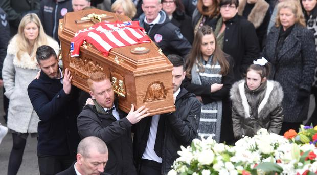 The Funeral of Derry City Player Ryan McBride takes place at St Columba's Church in Derry on Thursday. The 27-year-old footballer was found dead at home on Sunday, a day after he led his side in a 4-0 League of Ireland win over Drogheda United. Pic Colm Lenaghan/Pacemaker