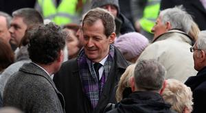Former Downing Street press secretary Alastair Campbell at St Columba's Church, Londonderry, for the funeral of Martin McGuinness who died on Monday 20th March 2017.