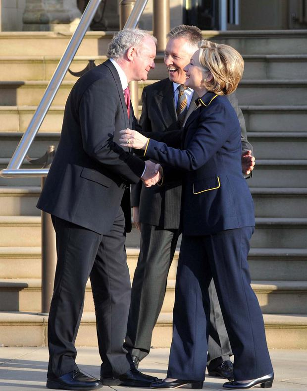Hilary Clinton said she was moved to tears by Bill Clinton's speech at Martin McGuinness' funeral Pic Colm Lenaghan/ Pacemaker