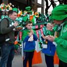 DUBLIN, IRELAND - MARCH 24: Fans enjoy pre-match refreshments prior to the FIFA 2018 World Cup Qualifier between Republic of Ireland and Wales at Aviva Stadium on March 24, 2017 in Dublin, Ireland. (Photo by Ian Walton/Getty Images)