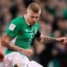 Republic of Ireland's James McClean tackle Wales' Chris Gunter during the 2018 FIFA World Cup Qualifying, Group D match at the Aviva Stadium, Dublin. PicBrian Lawless/PA Wire.