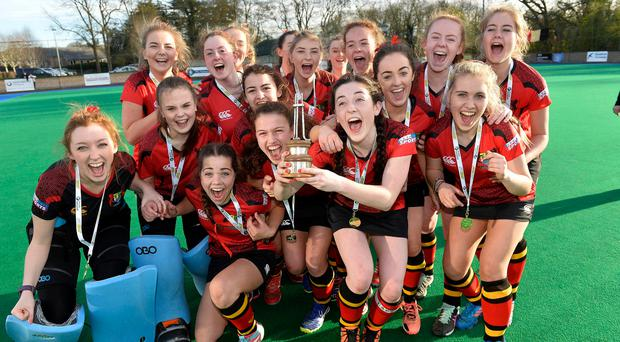 Doubling up: Banbridge Academy girls celebrate their Kate Russell All-Ireland Championship win to add to their Belfast Telegraph Ulster title