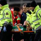 Agony: Seamus Coleman is stretchered off at the Aviva
