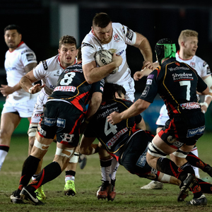 Big impact: Ulster's Alan O'Connor tries to force his way through against the Dragons in Newport last night