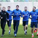 Northern Ireland train at the National Stadium at Windsor Park ahead of their 2018 World Cup qualifier against Norway in Belfast - March 2017